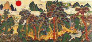 Jackie Kim's Korean Folk Art Min Hwa Scene for Feng Shui