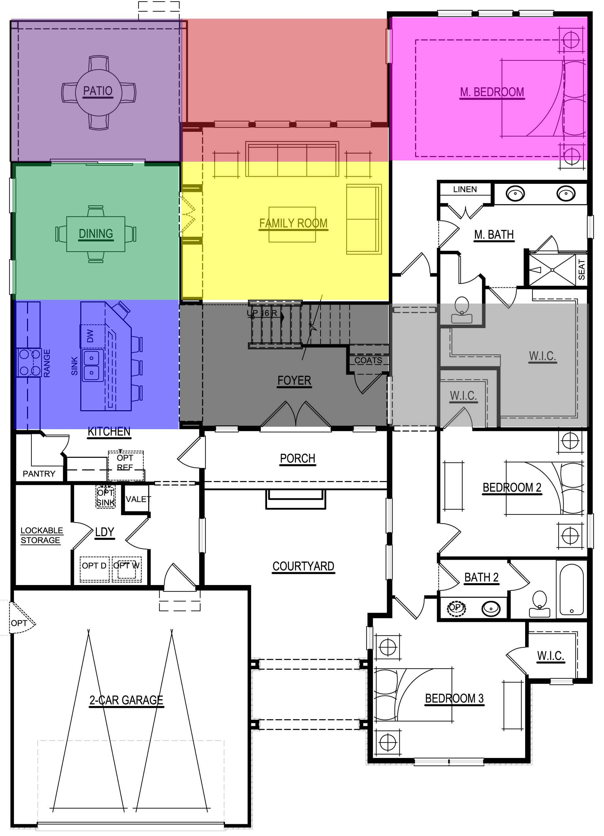 Feng Shui Example of Bad Layout 1st Floor bagua overlay bad